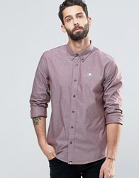 Pretty Green Oxford Shirt In Regular Fit Burgundy Burguny Red