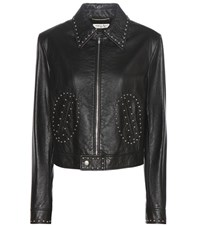 Saint Laurent Embellished Leather Jacket Black