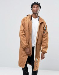 The New County Longline Parka With Borg Lining Rust Tan