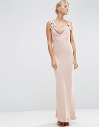Asos Wedding Bias Cut Satin Maxi Dress Blush Pink