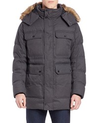 Marc New York Faux Fur Trimmed Puffer Coat Charcoal