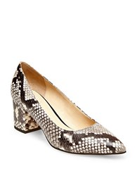 Brian Atwood Kacie Snake Print Leather Pumps Natural