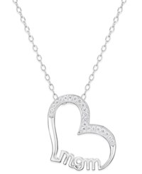 Giani Bernini Cubic Zirconia 'Mom' Pave Heart Pendant Necklace Only At Macy's Silver