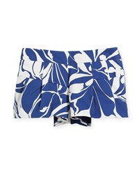 Milly Minis Floral Poplin Pleated Shorts Blue White