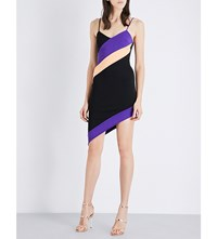 David Koma Striped Stretch Knit Mini Dress Black Purple Peach