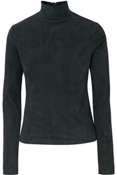 The Row Beatty Suede Turtleneck Top Green