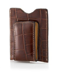 Neiman Marcus Croc Embossed Money Clip Cognac