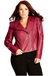 City Chic 'Pretty Pleather' Faux Leather Jacket Plus Size Mulberry
