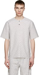 Phoebe English White And Black Striped Henley T Shirt