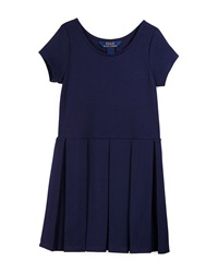 Ralph Lauren Childrenswear Short Sleeve Pleated Ponte Dress Newport Navy