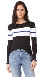 525 America Ruffle Edge Stripe Sweater Black Combo