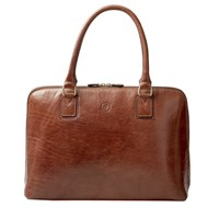 Maxwell Scott Bags Luxury Italian Leather Women's Work Tote Bag Fiorella Chestnut Tan Brown