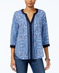 Tommy Hilfiger Printed Split Neck Top Only At Macy's Midnight Multi