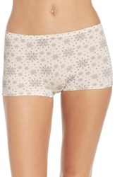 Nordstrom Women's Lingerie Seamless Boyshorts Pink Creole Snowflakes Print