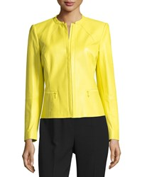Lafayette 148 New York Zip Front Leather Jacket Maize Yellow Women's