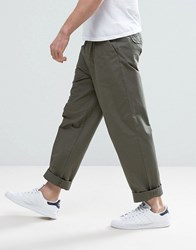 Selected Homme Chino In Wide Leg With Pleats Grape Leaf Green