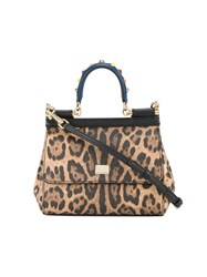 Dolce And Gabbana Small Sicily Leopard Print Tote Women Leather One Size Brown