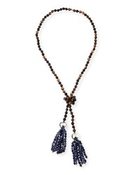 Nest Beaded Wood And Sodalite Tassel Necklace