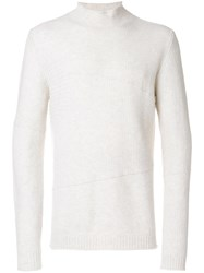 Roberto Collina Ribbed Turtle Neck Jumper Merino Polyester White