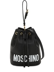 Moschino Logo Printed Leather Bucket Bag Black