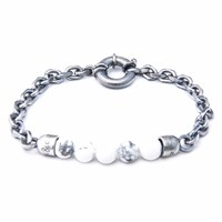 Anchor And Crew White Howlite Stern Stone Silver Bracelet
