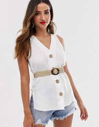 River Island Shirt With Belt In White