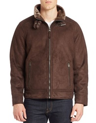 Calvin Klein Faux Fur Trimmed Faux Suede Moto Jacket Brown