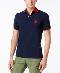 Tommy Hilfiger Men's Kade Tailored Fit Pique Polo Navy Blazer