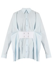 Maison Martin Margiela Point Collar Waist Belt Cotton Shirt Light Blue