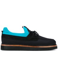 Weber Hodel Feder Lace Up Boat Shoes Men Leather Canvas Rubber 42 Black