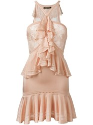 Roberto Cavalli Ruffle Trim Lace Mini Dress Pink And Purple