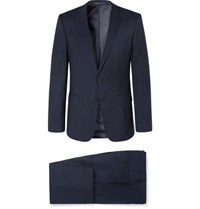 Hugo Boss Navy Slim Fit Checked Virgin Wool Suit Navy