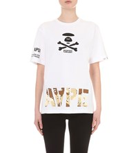 Aape By A Bathing Ape Camouflage Logo Print Cotton Jersey T Shirt White