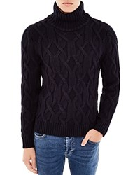 Sandro Mont Blanc Cable Knit Turtleneck Sweater Marine