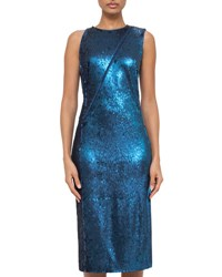 Akris Fully Sequined Cocktail Dress W Asymmetric Zip Blue Jay Bluejay