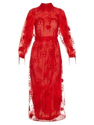 Simone Rocha Spooky Flower Embroidered Long Sleeved Dress