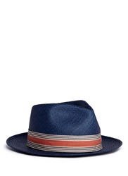 My Bob '24 Hours' Stripe Ribbon Band Straw Panama Hat Blue