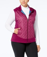 Columbia Plus Size Warmer Days Quilted Hooded Vest Dark Raspberry