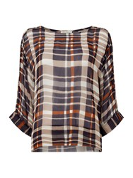 Part Two Round Neck Checked Blouse Blue