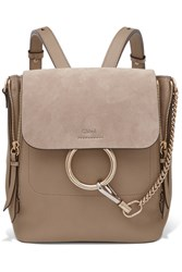 Chloe Faye Small Textured Leather And Suede Backpack Gray