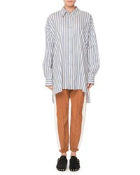 Isabel Marant Maca Button Down Long Sleeve Striped Oversize Blouse Blue