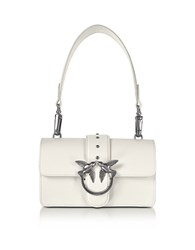 Pinko Mini Love Leather Shoulder Bag White