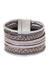 Saachi Gunmetal Braided Multi Cord Leather And Faux Hair Bracelet Black