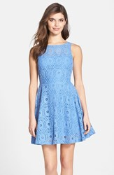 Women's Bb Dakota 'Renley' Lace Fit And Flare Dress French Blue