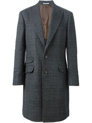 Brunello Cucinelli Prince Of Wales Overcoat Grey