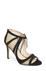 Nina Women's 'Cherie' Illusion Sandal Black Satin Nude Mesh