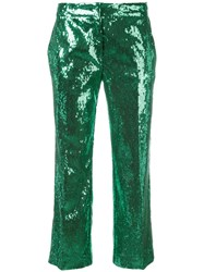 N 21 No21 Sequinned Cropped Trousers Green