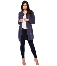 Blank Nyc Long Bomber Jacket In In The Navy In The Navy Women's Coat Pink