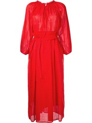 Cityshop Belted Button Down Dress Women Cotton One Size Red