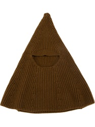 Rick Owens Face Covered Knit Hat Brown